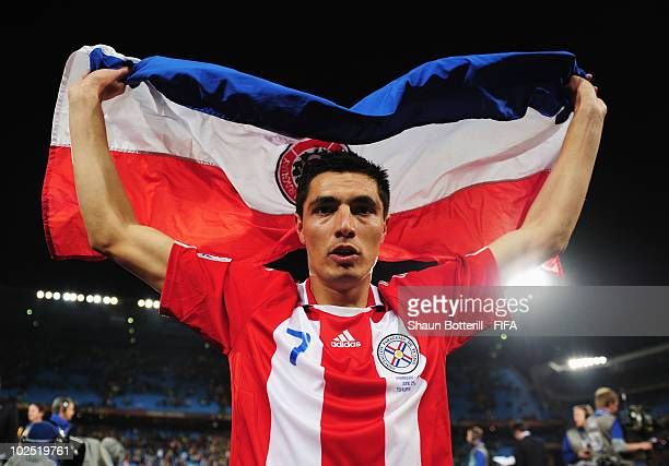 Oscar Cardozo of Paraguay celebartes after the 2010 FIFA World Cup South Africa Round of Sixteen match between Paraguay and Japan at Loftus Versfeld...