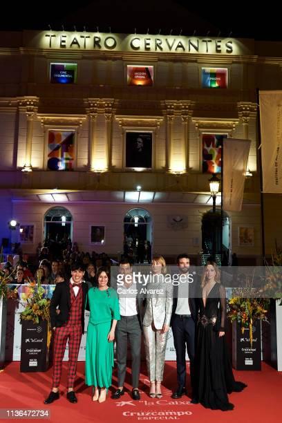 Oscar Casas Lola Duenas Mario Casas Ingrid GarcíaJonsson Jon Arias and Silvia Alonso attend 'Malaga Sur' 2019 award at the Cervantes Theater on March...