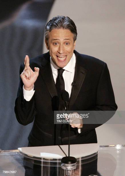 Oscar ceremony host Jon Stewart speaks at the 78th Academy Awards in Hollywood 05 March 2006 Stewart will host the 80th Oscars ceremony scheduled for...