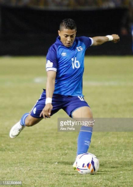 Oscar Ceren of El Salvador kicks the ball during a match between El Salvador and Jamiaca as part of the CONCACAF Gold Cup 2019 Qualifiers at...