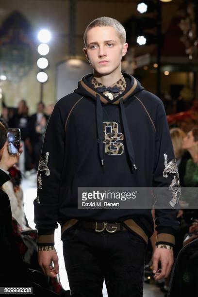 Oscar Chaytor walks the Dolce Gabbana Italian Christmas catwalk show at Harrods on November 2 2017 in London England