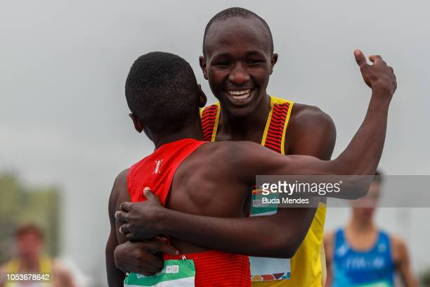 Oscar Chelimo of Uganda celebrates after winning the Men's 3000m first race during day 5 of Buenos Aires 2018 Youth Olympic Games at Youth Olympic...