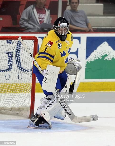 Oscar Dansk of Team Sweden skates skates in warmups prior to the game against he USA White Squad at the USA hockey junior evaluation camp at the Lake...