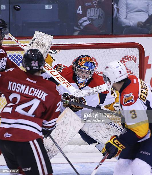 Oscar Dansk of the Erie Otters stops a shot against the Guelph Storm in Game Two of the OHL Western Conference Final at the Sleeman Centre on April...