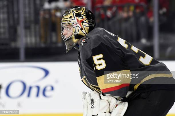 Oscar Dansk of the Vegas Golden Knights defends his goal against the Chicago Blackhawks during the game at TMobile Arena on October 24 2017 in Las...