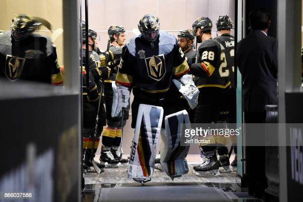 Oscar Dansk of the Vegas Golden Knights makes his way to the ice prior to the game against the Chicago Blackhawks at TMobile Arena on October 24 2017...