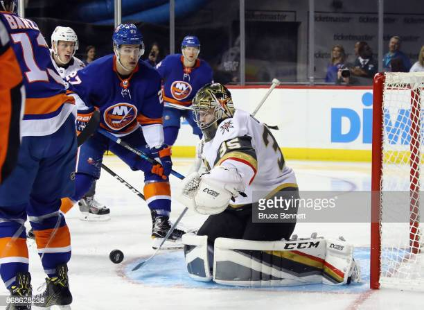 Oscar Dansk of the Vegas Golden Knights skates against the New York Islanders at the Barclays Center on October 30 2017 in the Brooklyn borough of...