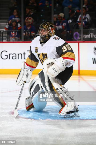 Oscar Dansk of the Vegas Golden Knights skates against the New York Islanders at Barclays Center on October 30 2017 in New York City New York...