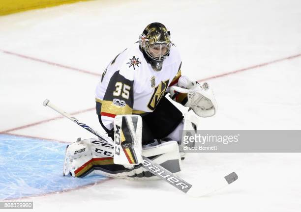 Oscar Dansk of the Vegas Golden Knights skates in warm ups prior to the game against the New York Islanders at the Barclays Center on October 30 2017...