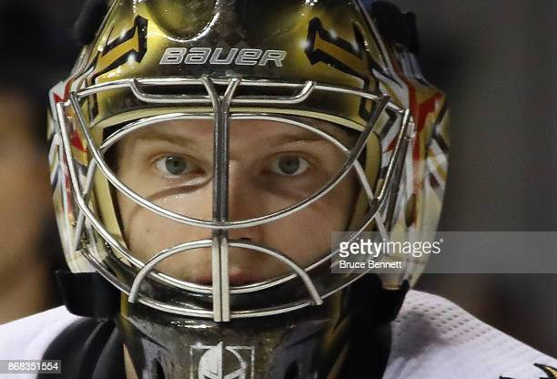 Oscar Dansk of the Vegas Golden Knights tends net against the New York Islanders during the second period at the Barclays Center on October 30 2017...