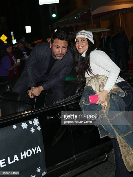 Oscar De La Hoya and Deana Molle are seen at the 84th Annual Hollywood Christmas Parade held at The Roosevelt Hotel on November 29 2015 in Los...