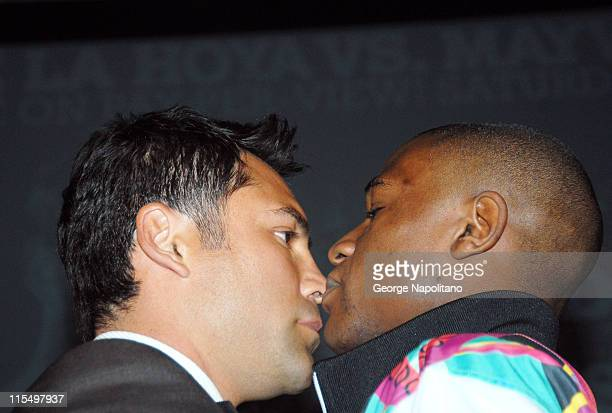 Oscar De La Hoya and Floyd Mayweather during the press conference at the WaldorfAstoria in New York City on February 20 for the fight between Oscar...
