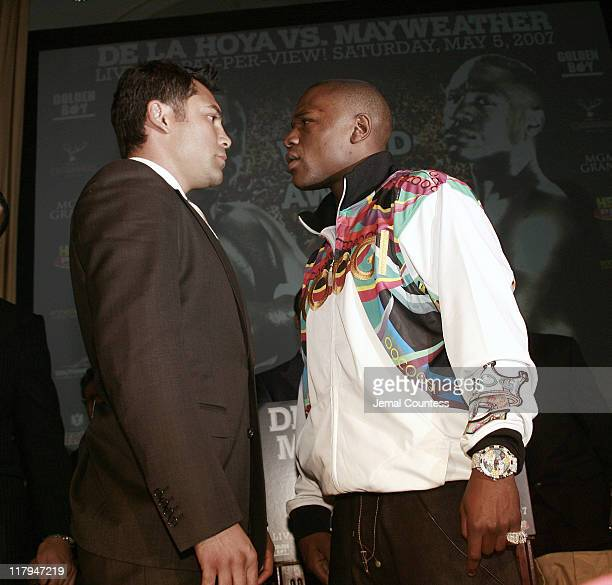 Oscar De La Hoya and Floyd Mayweather face off during the February 20 press conference at the Waldorf Astoria in New York City to announce their...