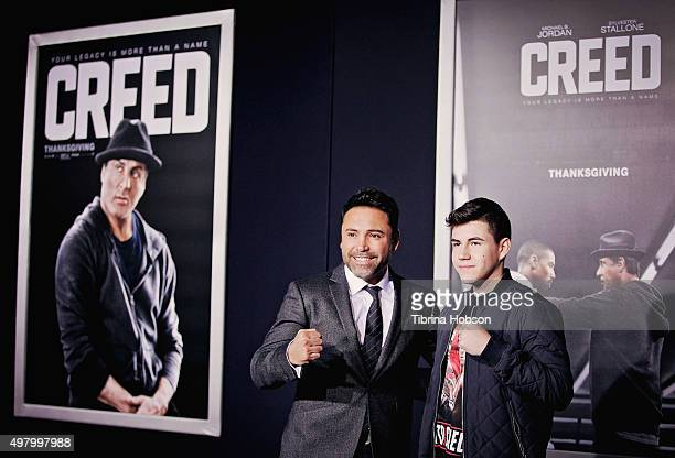 Oscar De La Hoya and his son Devon De La Hoya attend the premiere of Warner Bros Pictures' 'Creed' at Regency Village Theatre on November 19 2015 in...