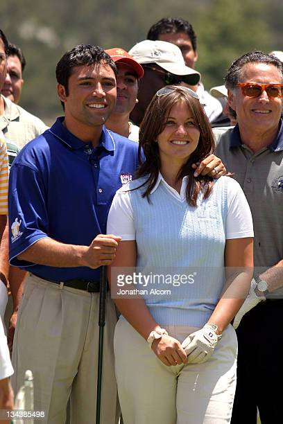 Oscar De La Hoya and his wife Millie Corretjer during 5th Annual Celebrity Gold Classic Hosted by Oscar De La Hoya at North Ranch Country Club in...