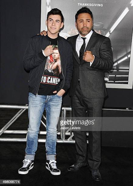 Oscar De La Hoya and son Devon De La Hoya attend the premiere of Creed at Regency Village Theatre on November 19 2015 in Westwood California