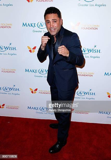 Oscar De La Hoya arrives at MakeAWish Greater Los Angeles honors Oscar De La Hoya Michael Rosenfeld and Tom Mone at its annual Wishing Well Winter...