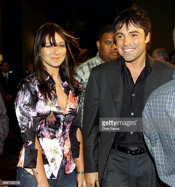 Oscar De La Hoya arrives with his wife Millie at the Mandalay Bay Hotel and Casino where he will fight Yory Boy Campas for the WBC and WBA Super...