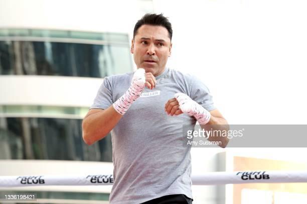 "Oscar De La Hoya attends an open to the public media workout hosted by boxing legend ""The Golden Boy"" Oscar De La Hoya at XBOX Plaza on August 24,..."