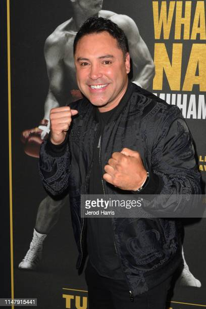 Oscar De La Hoya attends Premiere of HBO's 'What's My Name: Muhammad Ali' at Regal Cinemas L.A. LIVE Stadium 14 on May 08, 2019 in Los Angeles,...