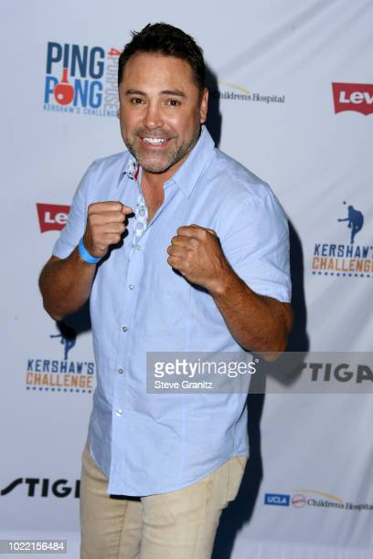 Oscar De La Hoya attends the 6th annual PingPong4Purpose at Dodger Stadium on August 23 2018 in Los Angeles California