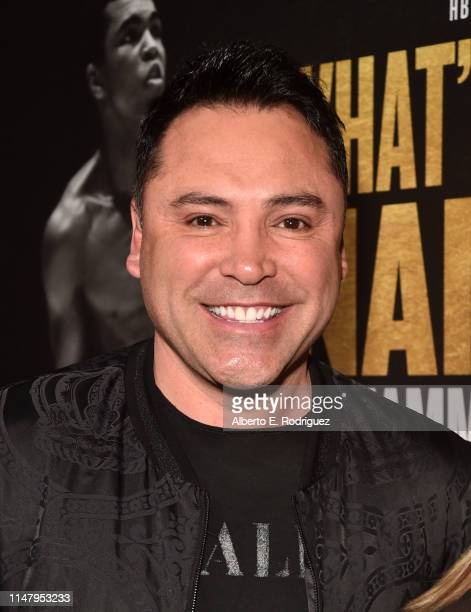 """Oscar De La Hoya attends the premiere of HBO's """"What's My Name: Muhammad Ali"""" at Regal Cinemas L.A. LIVE Stadium 14 on May 08, 2019 in Los Angeles,..."""