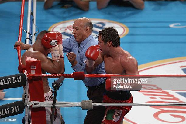 Oscar De La Hoya gets Fernando Vargas in the corner as referee Joe Cortez gets in between them to stop the fight during their world super...