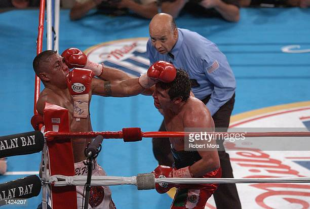 Oscar De La Hoya hits Fernando Vargas in the corner during their world super welterweight/Jr middleweight championship fight at the Mandalay Bay...