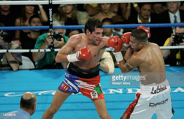 Oscar De La Hoya lands a left hand punch to the head of Fernando Vargas during their world super welterweight /Jr middleweight championship fight at...