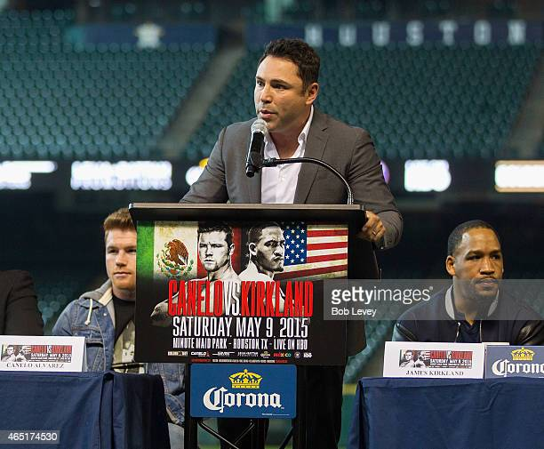 Oscar De La Hoya of Golden Boy Promotions speaks at a press conference to promote the May 9th fight between Canelo Alvarez and James Kirkland at...