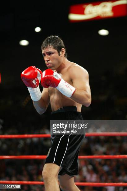 Oscar De La Hoya, pictured, fighs Shane Mosley, blue trunks, during a 12-round WBC/WBA Super Welterweight Championship bout held a the MGM Grand...