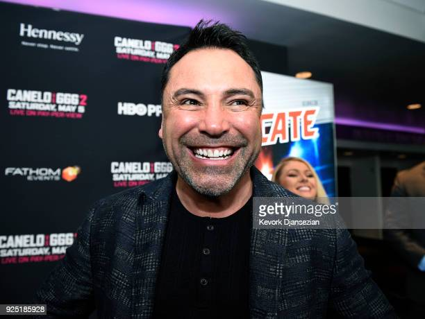 Oscar De La Hoya promoter of Canelo Alvarez poses during a news conference at Microsoft Theater at LA Live to announce the upcoming rematch against...