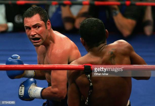 Oscar De La Hoya throws a left hook against Ricardo Mayorga during the WBC super welterweight title fight at the MGM Grand Garden Arena May 6 2006 in...