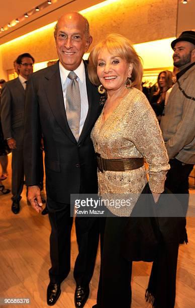 Oscar de la Renta and Barbara Walters attends the Oscar de la Renta Fashion's Night Out party at the Oscar de la Renta Boutique on September 10, 2009...