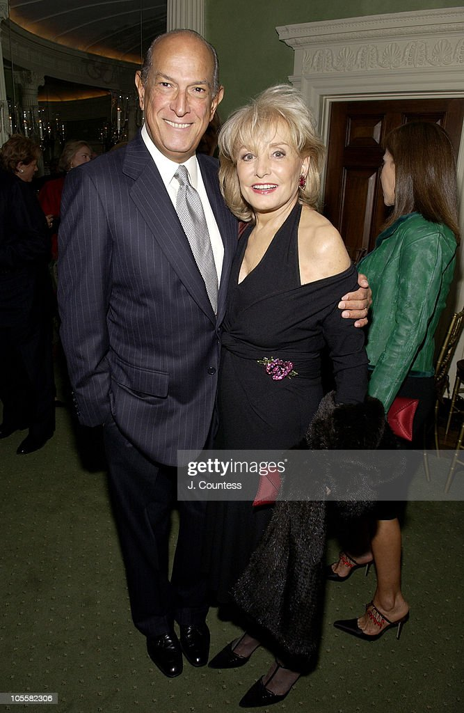 Oscar de la Renta and Barbara Walters during Renee Fleming Book Release Party - 'The Inner Voice: The Making of a Singer' at The Georgian Suite in New York City, New York, United States.