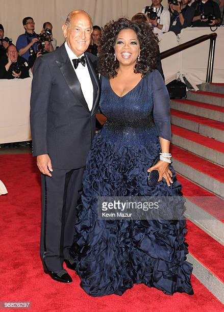 Oscar De La Renta and Oprah Winfrey attend the Costume Institute Gala Benefit to celebrate the opening of the 'American Woman Fashioning a National...