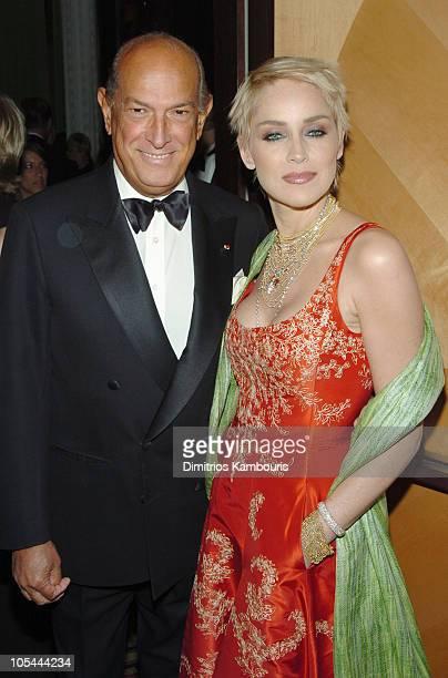 Oscar de la Renta and Sharon Stone during 26th Annual AAfA American Image Awards to Benefit amfAR - Arrivals at Grand Hyatt in New York City, New...