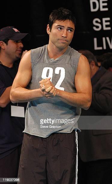 Oscar De LaHoya during Oscar De La Hoya vs Shane Mosley WeighIn at MGM Grand Arena in Las Vegas Nevada United States