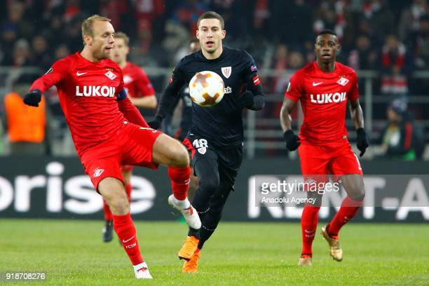 Oscar de Marcos of Athletic Bilbao in action during the UEFA Europa League round of 32 first leg soccer match between Spartak Moscow and Athletic...