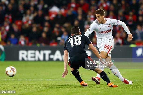 Oscar de Marcos of Athletic Bilbao Mario Pasalic of Spartak Moscow during the UEFA Europa League match between Athletic de Bilbao v Spartak Moscow at...
