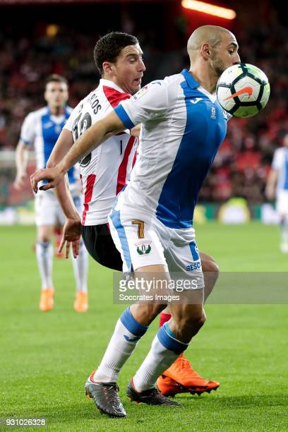 Oscar de Marcos of Athletic Bilbao Nordin Amrabat of Leganes during the La Liga Santander match between Athletic de Bilbao v Leganes at the Estadio...