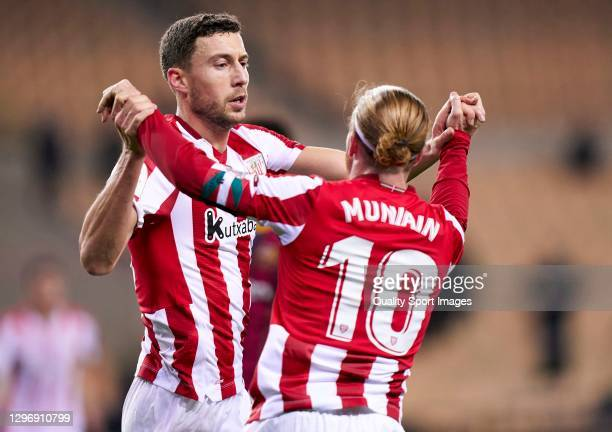 Oscar De Marcos of Athletic Club celebrates after scoring his team's first goal with his teammate Iker Muniain during the Supercopa de Espana Final...