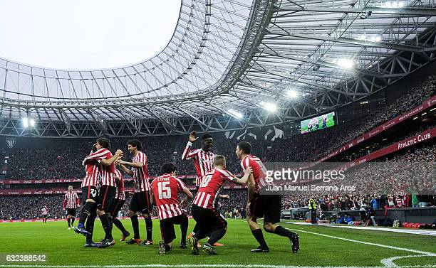 Oscar De Marcos of Athletic Club celebrates after scoring his team's second goal during the La Liga match between Athletic Club Bilbao and Atletico...