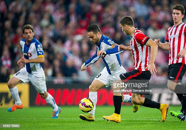 Oscar De Marcos of Athletic Club duels for the ball with Sergio Garcia of RCD Espanyol during the La Liga match between Athletic Club and RCD...