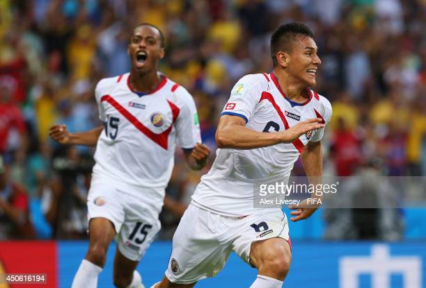 Oscar Duarte of Costa Rica celebrates after scoring the team's second goal during the 2014 FIFA World Cup Brazil Group D match between Uruguay and...