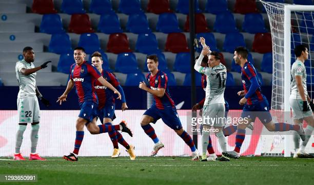 Oscar Duarte of Levante UD celebrates after scoring his team's first goal during the La Liga Santander match between Levante UD and Real Betis at...