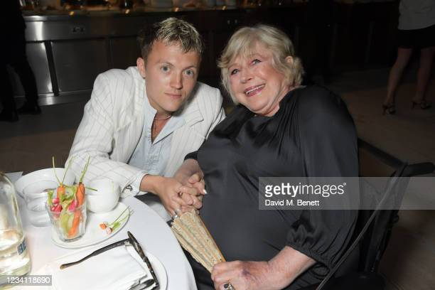 Oscar Dunbar and Marianne Faithfull attend the launch of the Mulberry x Alexa Chung collection at 180 Studios on July 22, 2021 in London, England.