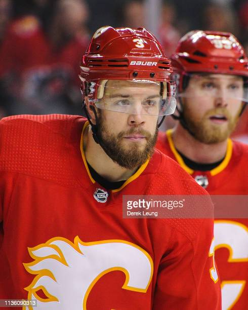 Oscar Fantenberg of the Calgary Flames in action against the New York Rangers during an NHL game at Scotiabank Saddledome on March 15 2019 in Calgary...