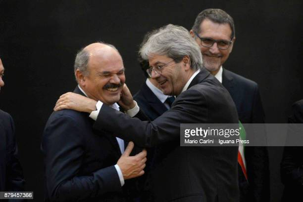 Oscar Farinetti and the italian Prime Minister Paolo Gentiloni and Virginio Merola Mayor of Bologna attends the FICO Eataly World Agri Food park...