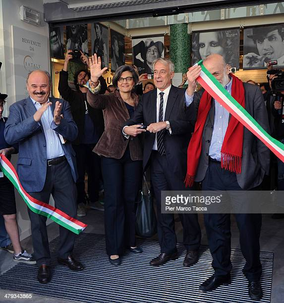 Oscar Farinetti founder of Eataly Lucia De Cesaris Mayor of Milan Giuliano Pisapia and Carlo Petrini during opening ceremony of new store on March 18...